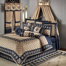 regal empire comforter bedding set with cream and navy blue royal pattern also crowned canopy in dove grey bedroom