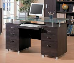 glass top double pedestal modern desk with seven drawers glass top modern office