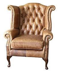 Vintage high back chair Furniture Sofa Manufacturing Handmade Chesterfield Queen Anne High Back Wing Chair In Vintage Tan Leather Amazon Uk Sofa Manufacturing Handmade Chesterfield Queen Anne High Back Wing