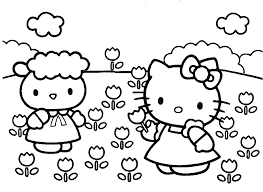 Small Picture Hello Kitty Planting Flowers Coloring Pages Coloring Arts