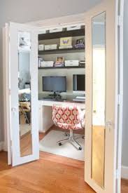 Home office in closet Secret My Home Office Is In Similar Closet But Not As Deep My Chair Sits Between The Bifold Doors Which Is Kinda Claustrophobic May Move Home Office To Not Just Housewife 50 Best Cloffice turn Closet Into An Office Images Desk