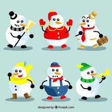 Various Colorful Snowmen Vector Free Download