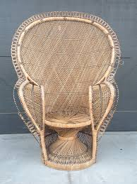 1970s large rattan wicker pea chair