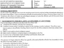 Absconding from ProbationNorth Carolina Criminal Law