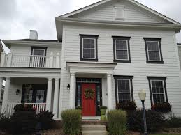 red door grey house. Home Decor:Red Door Grey House For Modern Style Colonia Red Blue