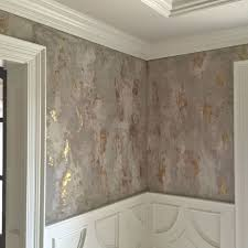 Venetian plaster wall Diy Dining Room Wall Finish With Several Custom Tinted Modern Masters Venetian Plaster Hues Troweled Over Bronze Foil It Was Then Glazed With Dark Brown Pinterest Dining Room Wall Finish With Several Custom Tinted Modern Masters