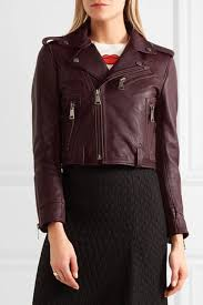 burdy cropped leather biker jacket by victoria victoria beckham
