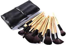 puna makeup brush set 24 pieces with black pu leather case