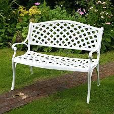 white iron garden furniture. Metal Garden Seats Jasmine Bench White Ends . Iron Furniture