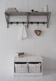 Hallway Coat Racks Hallway storage chest and coat rack above it Founterior 11