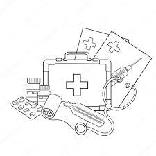 Kleurplaat Pagina Overzicht Van Medische Instrumenten Medische Logo
