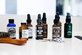 group of beard oils on counter