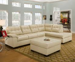 Living Room Decorating With Sectional Sofas Living Room Comfortable Cream Upholstery Tufted Bonded Leather