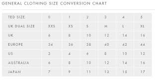 Womens Trouser Size Chart Uk Ted Baker Size Guide
