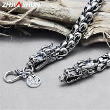 zhjiashun 925 sterling silver dragon necklace for men mens punk style thai silver dragon head jewelry male birthday gift uk 2019 from xiajishi