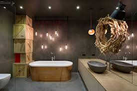 bachelor pad lighting. View In Gallery Stunning Use Of Standalone Tub And Indsutrial Style Lighting The Bathroom Bachelor Pad O