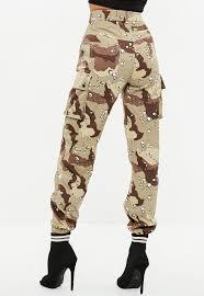 Designer Camo Pants Premium Tan Camo Printed Cargo Trousers