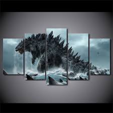 5 piece canvas prints. Beautiful Prints 5 Pieces Canvas Prints Godzilla Movie Painting Wall Art Home Decor Panels  Poster For Living Room Piece E
