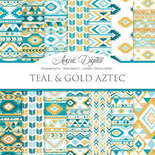 Boho Patterns Amazing Teal And Gold Aztec Digital Paper Boho Seamless Patterns Backgrounds