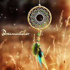 lace color stone dream catcher with feather car wall hanging decor ornament 38cm
