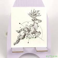 водонепроницаемый временные татуировки олень бак геометрические татуировки