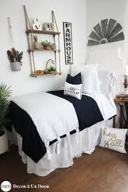 farmhouse navy white ticking stripe ties designer dorm bedding set
