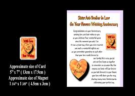 1st wedding anniversary gifts for sister and brother in l ~ imbusy Wedding Cards Messages For Sister sister brother in law 1st to 24th wedding anniversary card magnet gift wedding cards messages for sister