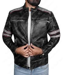 distressed café racer retro biker jacket