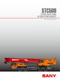 50 Ton Crawler Crane Load Chart Stc500 50ton Stable Truck Crane Sany Pdf Catalogs