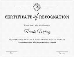 Free Sample Certificate Of Recognition Template Printable