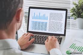 Reading Investment Charts Business Man Reading Financial Analytics Report With Charts