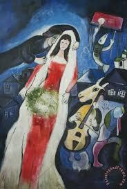 la mariee painting marc chagall la mariee art print