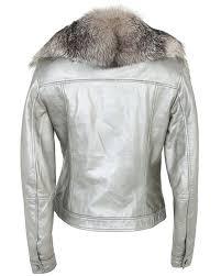 maxmara metal silver lambs leather biker jacket xs image image image