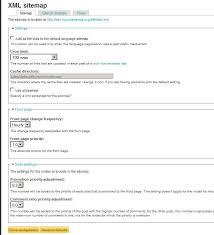 screenshot of xml sitemap module configuration
