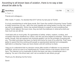 Tumblr Staff David Letter I Just Sent To My Team The Bee