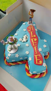 Toy Story Number 4 Shaped Birthday Cake Buzz Woody 4 Alfie
