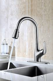 purelux tulip single handle pull down kitchen sink faucet with deck plate brushed nickel pull out kitchen faucets with sprayer high arc design