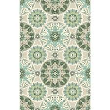 allen roth fl medallion cream green indoor throw rug common 3 x