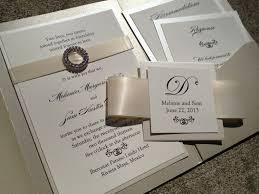 Pocket Wedding Invitations With Ribbon And Rhinestones