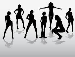 フリーイラスト 7人の女性のシルエットでアハ体験 Gahag 著作権