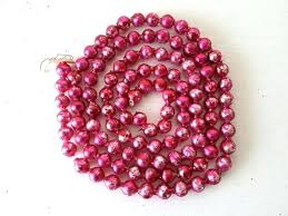 image 0 glass bead tree garland vintage dark pink