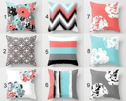 Throw Pillows Pillow Covers Coral Aqua Grey <b>Black White</b> NEW (с ...