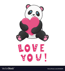 Love funny love you Cartoon Vectorstock Funny Panda With Pink Heart With Text Love You Vector Image