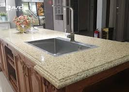 beige glossy polished sparkle quartz countertops ogee edge good color consistency