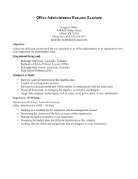 Non Relevant Work Experience Resume Office Administrator Example