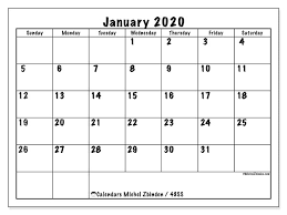 Printable Calendars For 2020 January 2020 Calendars Ss Michel Zbinden En