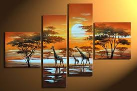 large canvas wall art hand painted oil painting on canvas 4 piece canvas wall art living room modern decorative painting landscape tree giraffe on 4 piece canvas wall art with wall art designs large canvas wall art hand painted oil painting on