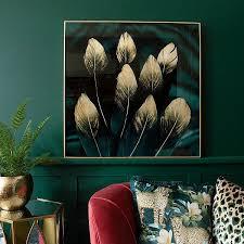 teal noir feathers glass artwork