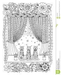 Vector Lo Zentagl Dellillustrazione Gatti Su Un Davanzale In Fiori