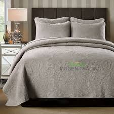 CHAUSUB Plain Color 100% Cotton Quilt Set 3PCS Embroidered Quilted ... & CHAUSUB Plain Color 100% Cotton Quilt Set 3PCS Embroidered Quilted Bedspread  Soft Bed Cover Shams King Size Bedding Coverlet Set-in Quilts from Home ... Adamdwight.com